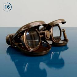 Thesis - Home Decor Binoculars In Leather Case Antique Brass